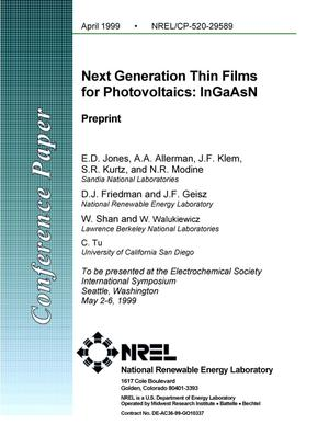 Primary view of object titled 'Next Generation Thin Films for Photovoltaics: InGaAsN; Preprint'.