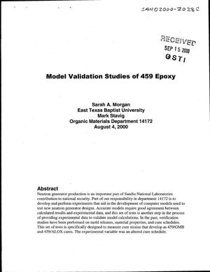 Primary view of object titled 'Model Validation Studies of 459 Epoxy'.