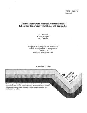 Primary view of object titled 'Effective cleanup at LLNL: innovative technologies and approaches'.