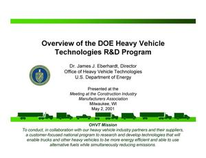Primary view of object titled 'Overview of the DOE Heavy Vehicle Technologies R and D Program'.