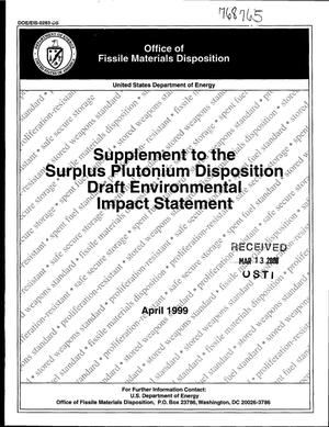 Primary view of object titled 'Supplement to the Surplus Plutonium Disposition Draft Environmental Impact Statement'.