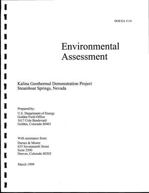 Primary view of object titled 'Environmental Assessment and Finding of No Significant Impact: Kalina Geothermal Demonstration Project Steamboat Springs, Nevada'.