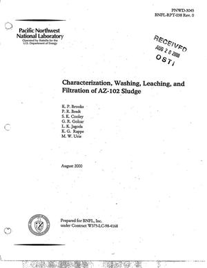 Primary view of object titled 'Characterization, Washing, Leaching, and Filtration of AZ-102 Sludge'.