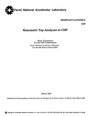 Primary view of object titled 'Kinematic top analyses at CDF'.