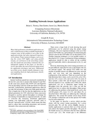 Primary view of object titled 'Enabling network-aware applications'.