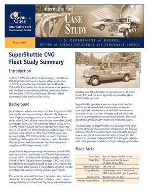 Primary view of object titled 'SuperShuttle CNG Fleet Study Summary: Clean Cities Alternative Fuel Information Series, Alternative Fuel Case Study'.