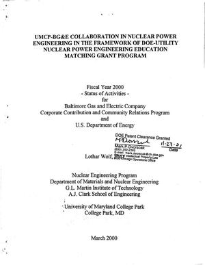 Primary view of object titled 'UMCP-BG and E collaboration in nuclear power engineering in the framework of DOE-Utility Nuclear Power Engineering Education Matching Grant Program'.