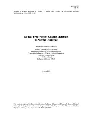 Primary view of object titled 'Optical properties of glazing materials at normal incidence'.