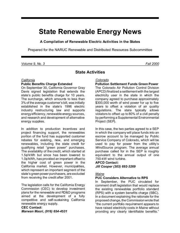 Renewable Energy News >> State Renewable Energy News Vol 9 No 3 Fall 2000 Digital Library