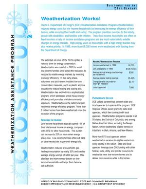 Primary view of object titled 'Weatherization Works!: Weatherization Assistance Program Close-Up Fact Sheet'.