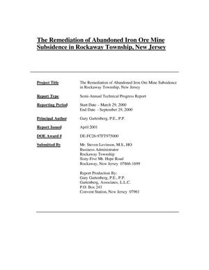 Primary view of object titled 'THE REMEDIATION OF ABANDONED IRON ORE MINE SUBSIDENCE IN ROCKAWAY TOWNSHIP, NEW JERSEY'.