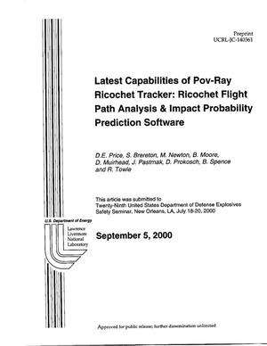 Primary view of object titled '''Latest Capabilities of Pov-Ray Ricochet Flight Path Analysis & Impact Probability Prediction Software'''.