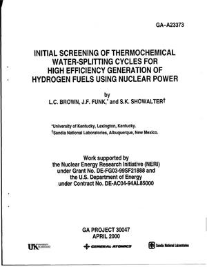 Primary view of object titled 'Initial Screening of Thermochemical Water-Splitting Cycles for High Efficiency Generation of Hydrogen Fuels Using Nuclear Power'.