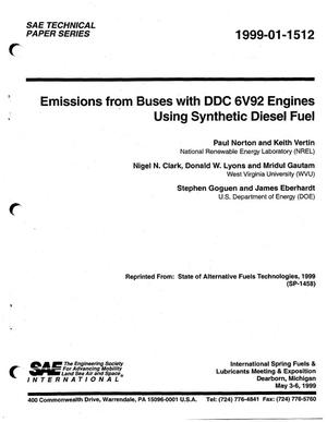 Primary view of object titled 'Emissions from Buses with DDC 6V92 Engines Using Synthetic Diesel Fuel'.