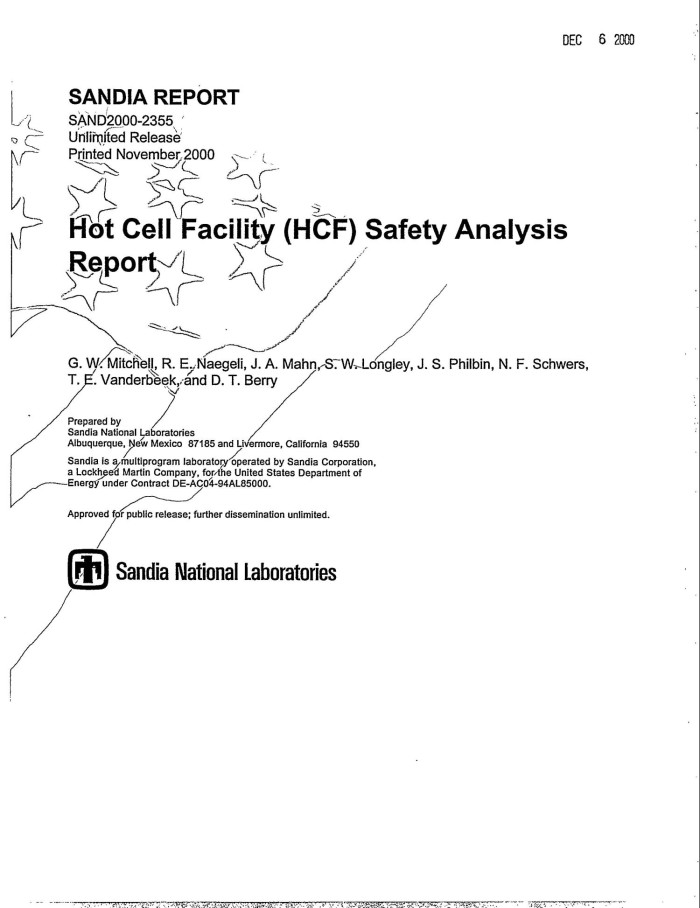 Hot Cell Facility (HCF) Safety Analysis Report - Digital Library