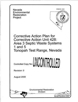 Primary view of object titled 'Corrective Action Plan for Corrective Action Unit 428: Area 3 Septic Waste Systems 1 and 5 Tonopah Test Range, Nevada'.