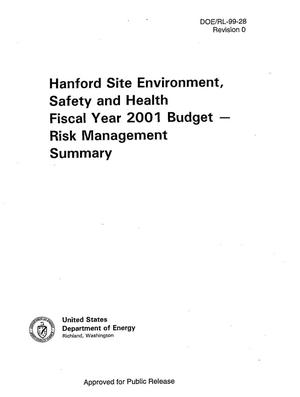Primary view of object titled 'Hanford Site Environmental Safety and Health Fiscal Year 2001 Budget-Risk management summary'.
