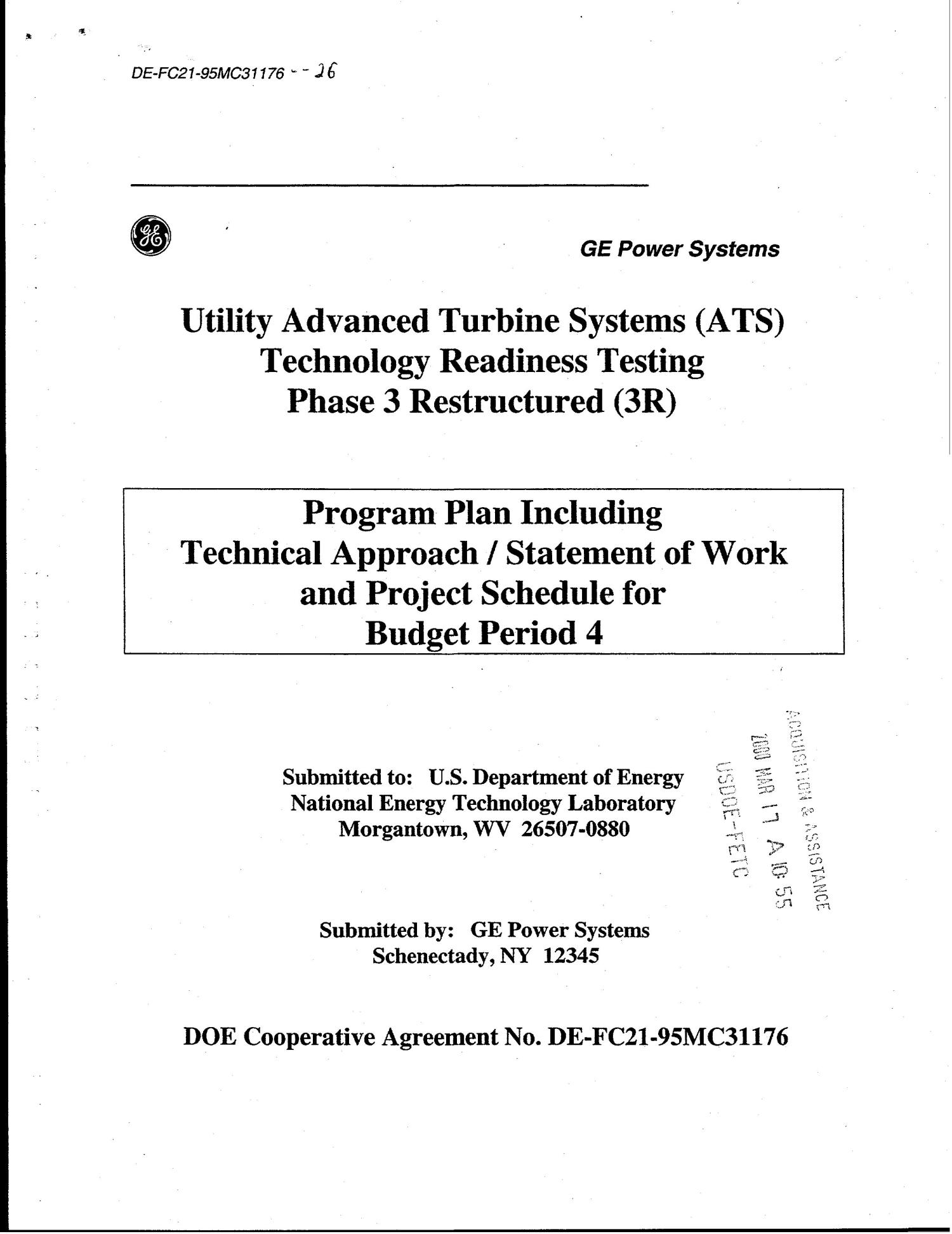 UTILITY ADVANCED TURBINE SYSTEMS (ATS) TECHNOLOGY READINESS TESTING PHASE 3 RESTRUCTURED (3R)                                                                                                      [Sequence #]: 1 of 49