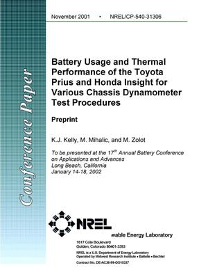 Primary view of object titled 'Battery Usage and Thermal Performance of the Toyota Prius and Honda Insight for Various Chassis Dynamometer Test Procedures: Preprint'.