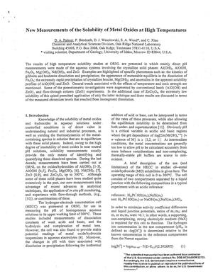 Primary view of object titled 'New Measurements of the Solubility of Metal Oxides at High Temperatures'.