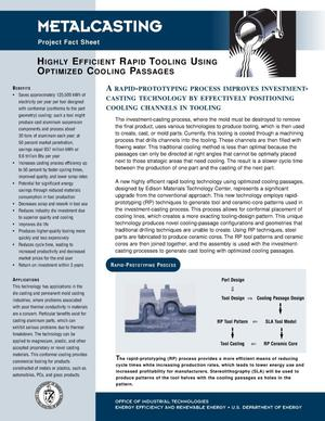 Primary view of object titled 'Highly Efficient Rapid Tooling Using Optimized Cooling Passages: Inventions and Innovation Metalcasting Project Fact Sheet'.
