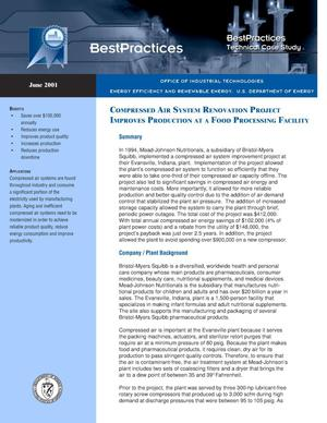 Primary view of object titled 'Compressed Air System Renovation Project Improves Production at a Food Processing Facility: Office of Industrial Technologies (OIT) BestPractices Technical Case Study'.