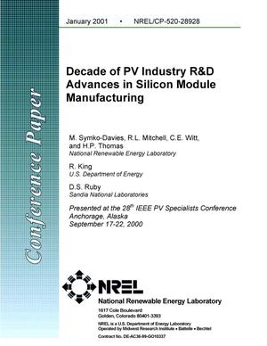 Primary view of object titled 'Decade of PV Industry R and D Advances in Silicon Module Manufacturing'.