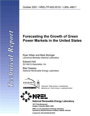 Primary view of object titled 'Forecasting the Growth of Green Power Markets in the United States'.