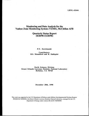 Primary view of object titled 'Monitoring and data analysis for the Vadose zone monitoring system (VZMS), McClellan AFB - Quarterly Status Report - 8/20/98 - 11/20/98'.