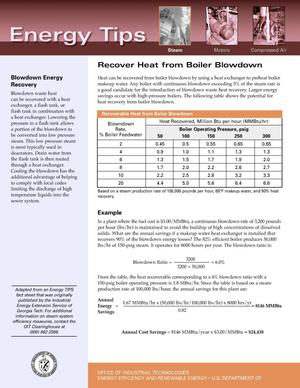 Primary view of object titled 'Recover Heat from Boiler Blowdown: Office of Industrial Technologies (OIT) Steam Energy Tips Fact Sheet'.