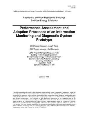 Primary view of object titled 'Performance assessment and adoption processes of an information monitoring and diagnostic system prototype'.