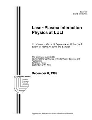 Primary view of object titled 'Laser-Plasma Interaction Physics at LULI'.
