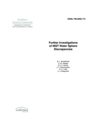 Primary view of object titled 'Further Investigations of NIST Water Sphere Discrepancies'.