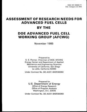 Primary view of object titled 'Assessment of Research Needs for Advanced Fuel Cells'.