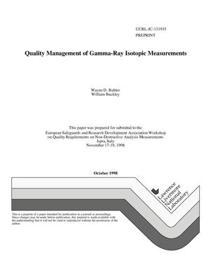 Primary view of object titled 'Quality management of gamma-ray isotopic measurements'.