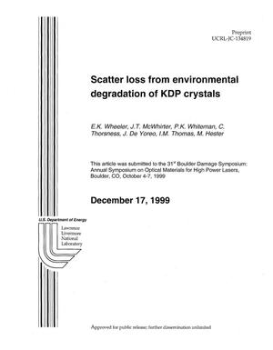 Primary view of object titled 'Scatter Loss From Environmental Degradation of KDP Crystals'.