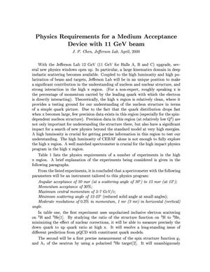 Primary view of object titled 'Physics Requirements for a Medium Acceptance Device with 11 GeV Beam'.