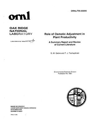 Primary view of object titled 'Role of Osmotic Adjustment in Plant Productivity'.