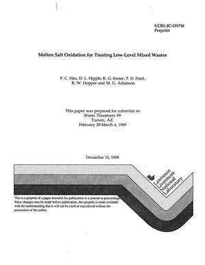 Primary view of object titled 'Molten salt oxidation for treating low-level mixed wastes'.