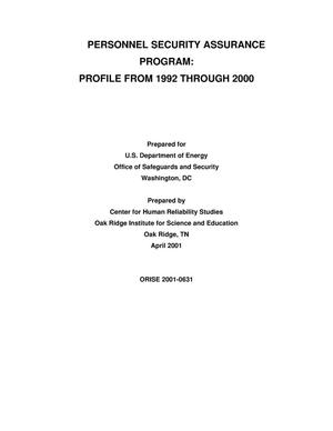 Primary view of object titled 'Personnel Security Assurance Program: Profile From 1992 through 2000'.