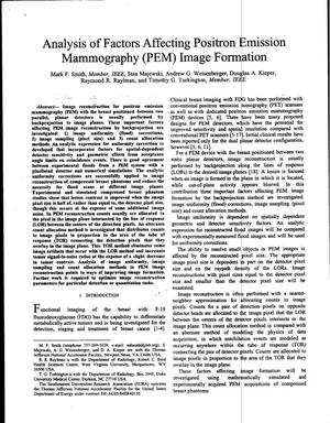 Primary view of object titled 'Analysis of Factors Affecting Positron Emission Mammography (PEM) Image Formation'.