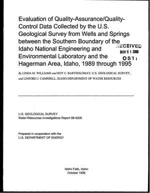 Primary view of object titled 'Evaluation of Quality-Assurance/Quality-Control Data Collected by the U.S. Geological Survey from Wells and Springs between the Southern Boundary of the Idaho National Engineering and Environmental Laboratory and the Hagerman Area, Idaho, 1989 through 1995'.