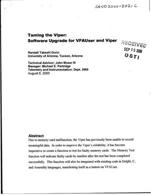 Primary view of object titled 'Taming the Viper: Software Upgrade for VFAUser and Viper'.