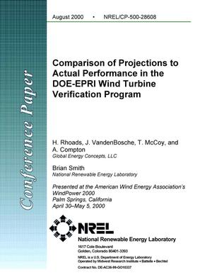 Primary view of object titled 'Comparison of Projections to Actual Performance in the DOE-EPRI Wind Turbine Verification Program'.