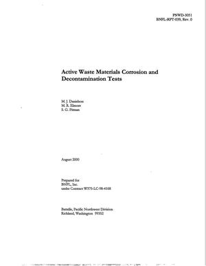 Primary view of object titled 'Active Waste Materials Corrosion and Decontamination Tests'.