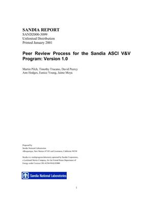 Primary view of object titled 'Peer Review Process for the Sandia ASCI V and V Program: Version 1.0'.