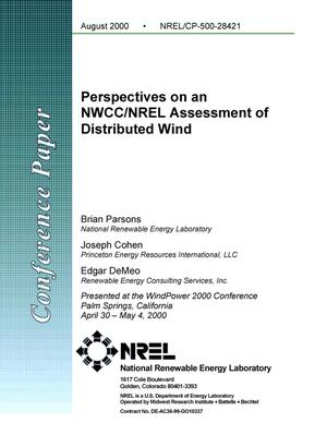 Primary view of object titled 'Perspectives on an NWCC/NREL Assessment of Distributed Wind'.