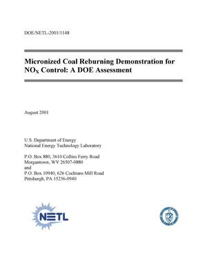 Primary view of object titled 'Micronized Coal Reburning Demonstration for NOx Control: A DOE Assessment'.