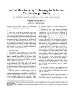Primary view of object titled 'A New Manufacturing Technology for Induction Machine Copper Rotors'.