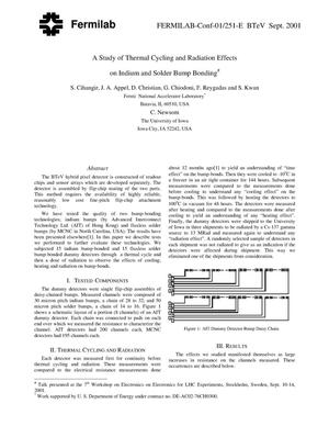 Primary view of object titled 'A study of thermal cycling and radiation effects on indium and solder bump bonding'.